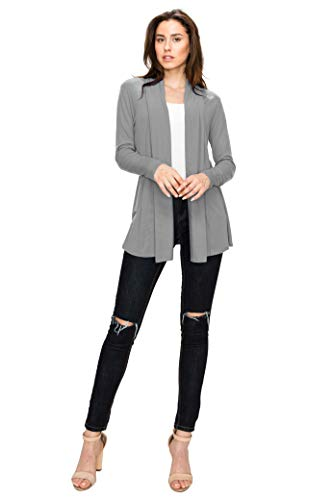 Lock and Love WSK1301 Womens Open Draped Knit Shawl Cardigan XL Heather_Dark_Grey by Lock and Love (Image #4)