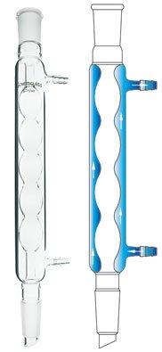 Chemglass CG-1206-03 Series CG-1206 Allihn Condenser, 250 mm Jacket Length, 24/40 Joint, 380 mm Height