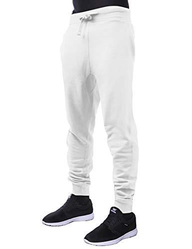(Hat and Beyond Mens Premium Basic Fleece Jogger Pants Elastic Drawstring Active Slim Fit Trousers (Medium, 1hc20_White))