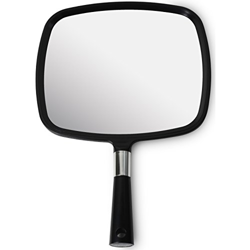 Mirrorvana Large & Comfy Hand Held Mirror (2017 Barber Model in Black) | New Improved Sticker -