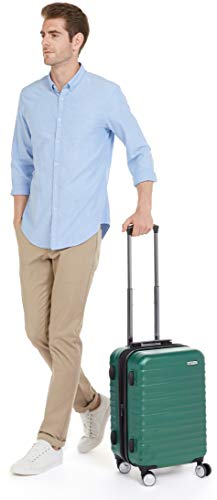AmazonBasics Premium Hardside Spinner Luggage with Built-In TSA Lock - 20-Inch Carry-on, Green