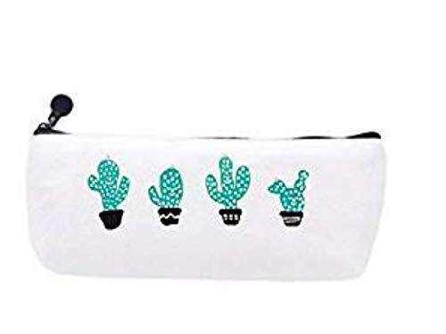 100pz Canvas Pen bag lovely trapezoidale Cartoon cactus astuccio con chiusura a cerniera RRunzfon