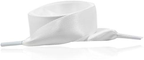 120CM ファッション ファンタスティック マルチカラーフラットサテン ひも 靴ひも シューストリング 120cmホワイト