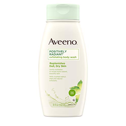 Aveeno Positively Radiant Exfoliating Body Wash with Moisture-Rich Soy Complex & Crushed Walnut Shell for Dry, Dull Skin, Soap-Free, Dye-Free & Hypoallergenic Formula, 18 fl. Oz (Pack of 3) (Maximum Radiance Exfoliating Gel)