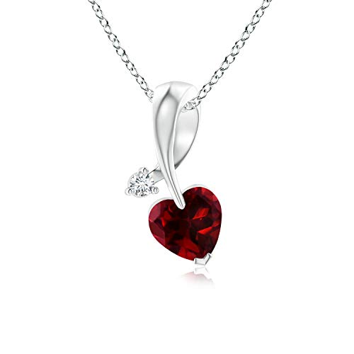 (Heart-Shaped Garnet Ribbon Pendant with Diamond in 14K White Gold (5mm)