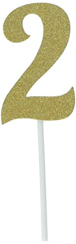 Creative Converting Milestone Gold Glitter Birthday Cake Topper Age 2 Party Supplies, Multicolor -