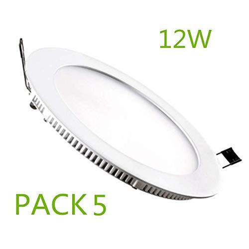 Placa LED Circular SuperSlim 12W (Pack 5) Downlight LED Blanco ...