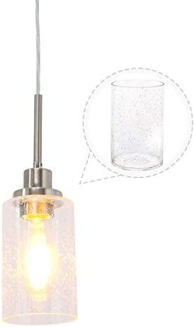 ANTANA Bubble Glass Modern Pendant Lighting Brushed Nickel Dining Room Lighting One Light Chandeliers Fixtures Hanging Contemporary Lamp Semi Flush Mount Ceiling Lights