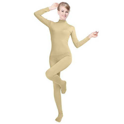 Unisex Lycra Spandex Unitard Mock Neck Long Sleeves Full Foot Bodysuit Costume (L(5'5-5'9/132-154LB), Nude)