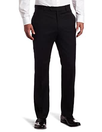 Tommy Hilfiger Mens Flat Front Trim Fit 100% Wool Suit Separate Pant, Black Solid, 29W x 30L