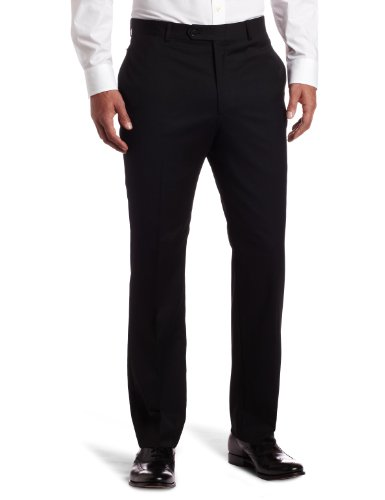 Tommy Hilfiger Mens Flat Front Trim Fit 100% Wool Suit Separate Pant, Black Solid, 34W x ()