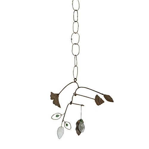 Cheap Ten Thousand Villages Balancing Metal and Recycled Glass Mobile 'Calming Ginkgo Chime'