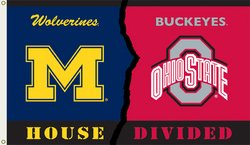 (BSI Products, Inc. - Michigan/Ohio State- 3 Ft. x 5 Ft. Flag w/ Grommets - Rivalry House Divided)