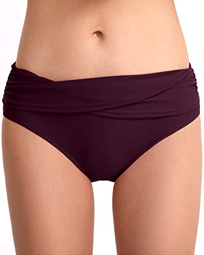 HAIVIDO Women's Swim Bottoms Full Coverage RuchedHipster Bikini Bottoms Tankini Swimsuit Briefs Shorts Burgundy S ()