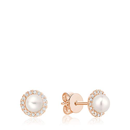 Jewels By Erika E-10PL10 10K Gold Pearl & Diamond Stud Earrings (Rose-Gold)