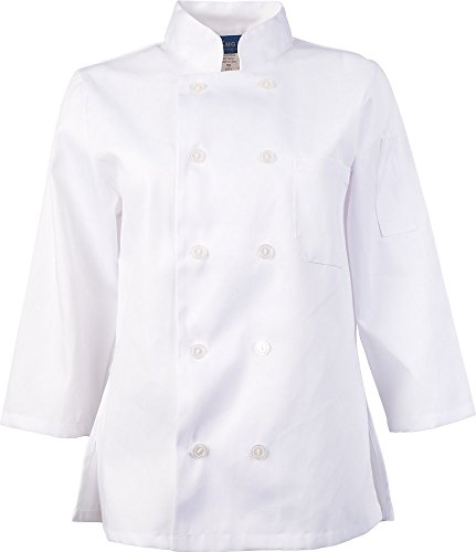 KNG Womens White Classic ¾ Sleeve Chef Coat, S by KNG (Image #8)