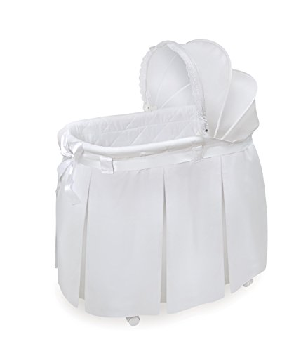 Badger Basket Wishes Oval Bassinet - Full Length Skirt, White (Baby Bassinet Basket)