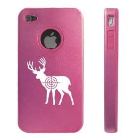 Apple iPhone 4 4S Pink D1603 Aluminum & Silicone Case Cover Hunting Deer