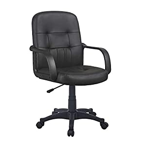 GIZZA Modern Mid Back Support Office Chair Black Grey Faux Leather High Adjustable for Computer Desk Workstation, Matte…
