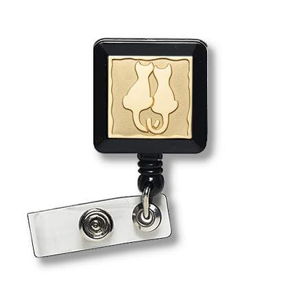 Badgemates Retractable Id Badge Holder - Back to School - Cat Badge Reel (Gold)/Couple Badge Reel/Retractable Badge Holder/Cat mom Badge Reel/Pets Lover Badge Reel/Weather Protector/Id Holder