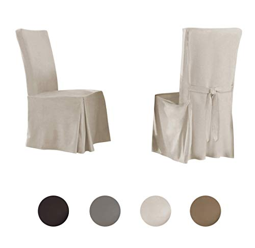 Serta | Relaxed Fit Smooth Suede Furniture Slipcover for Dining Room Chair (Set of 2), Long Skirt (Ivory) (Dining Chair Covers White)