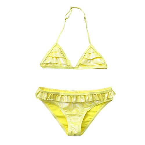 TEVEQ Toddler Kids Girls Swimsuit Ruffles Solid Bikini Outfits Sparkle Summer Swimwear Yellow