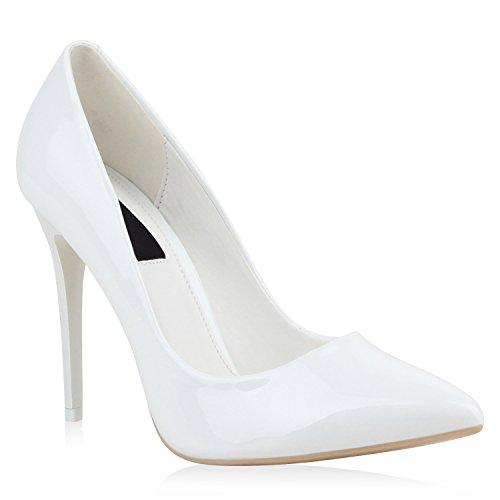Stiefelparadies Spitze Damen Pumps Stiletto High Heels Lack Leder-Optik Schuhe Elegante Absatzschuhe Party Abendschuhe Abiball Flandell Weiss Lack
