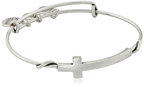 Alex And Ani Spiritual Armour Cross Rafaelian Silver Tone Expandible Wire Bangle Bracelet