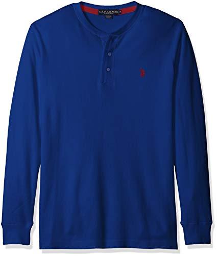 U.S. Polo Assn. Men's Long Sleeve Thermal Henley, Barcelona Blue, M ()