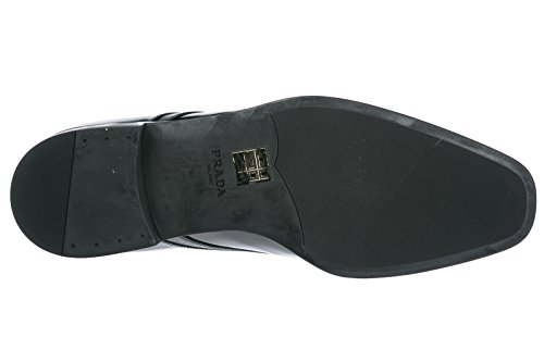 Prada Mens Klassiska Läder Snörning Spetsad Formella Skor Svart