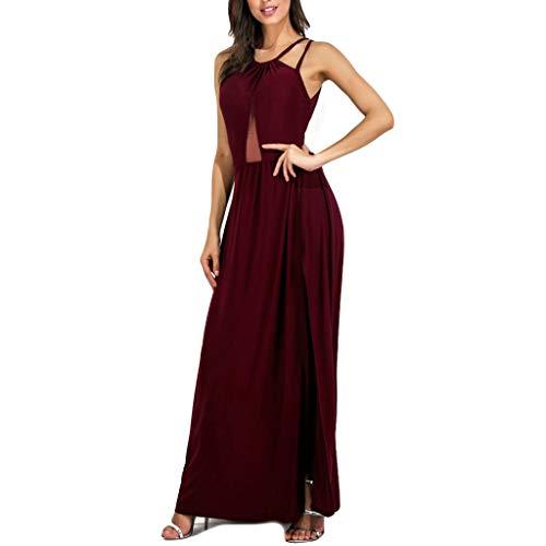 (Emimarol Womens Dress Summer Plus Size Dress Solid Slit Hollow Out Dress Backless Camisole Long Dress Party Enening Dress Khaki)