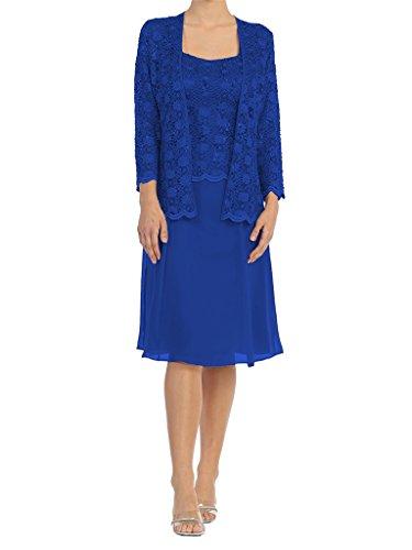 Chiffon Formale Reale 2 Blu Womens Pezzi Madre Pizzo Abito Della Ginocchio Abito Dressyu tpHq4nww
