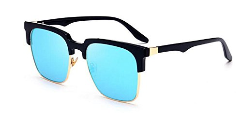 retro de polarisées cercle Glacier vintage rond style en Lennon soleil lunettes Bleu métallique du inspirées gqdY11a