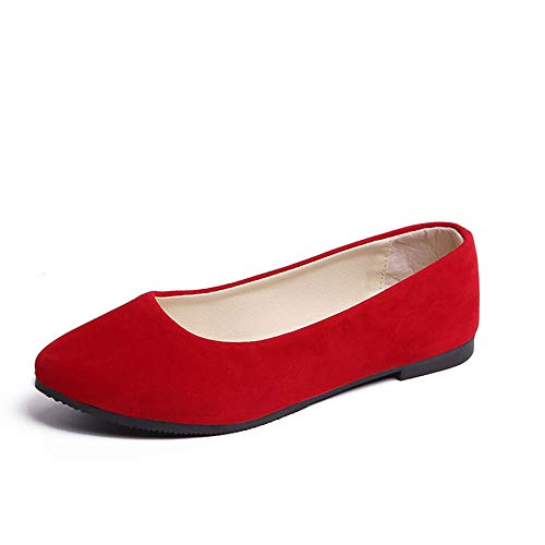 Pointy Toe Shoes Women Solid Ballet Flats Comfort Solid Flat Shoes for Work Slip On Moccasins Red 38