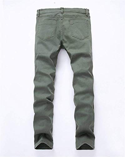Ragazzo Strappati Il Uomo Moda Pants Per Da Vintage Closure Armeegrün Casual Jeans Skinny Denim Knee Alla Hat UOwYdqOfA