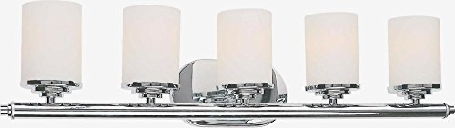 Forte Lighting 5115-05-05 Bath Vanity with Satin Opal Glass Shades, Chrome ()