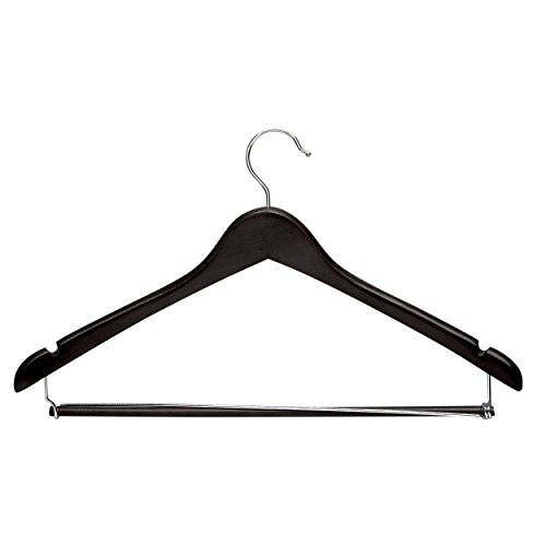Honey-Can-Do HNG-06214 Contoured Wood Suit Hangers with Locking bar, 3-Pack, Ebony