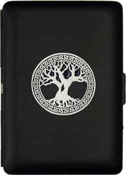 - 'Celtic Tree of Life' Ultra Slim King Business Card Case - Black Matte Finish