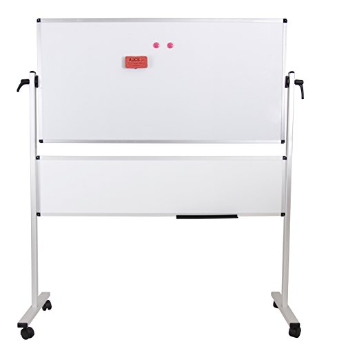 VIZ-PRO Double-sided Magnetic Mobile Whiteboard, 48x24 Inches Plus 48x12 Inches, Aluminium Frame & Stand by VIZ-PRO