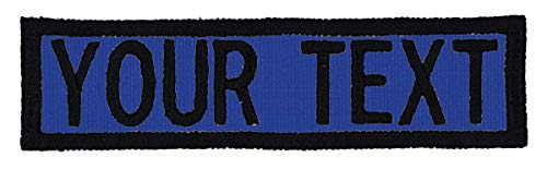Custom Morale Name Tapes with Border! Over 35 Fabrics to choose! Made in USA!! Royal Blue, Hook Fastener.