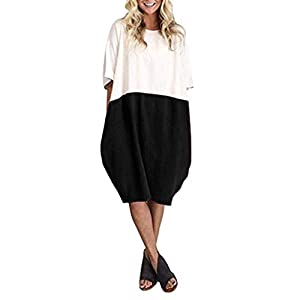 VECDY Dresses for Women Sale Soft Loose Womens Dresses Casual Dress Half Sleeve Ladies Dresses with Pocket Size S-2XL