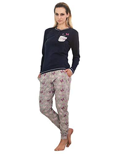 Art lungo con polsini pigiama cotone farfalle 3759 Blu serafino guru donna in fantasia in 80PqREwq