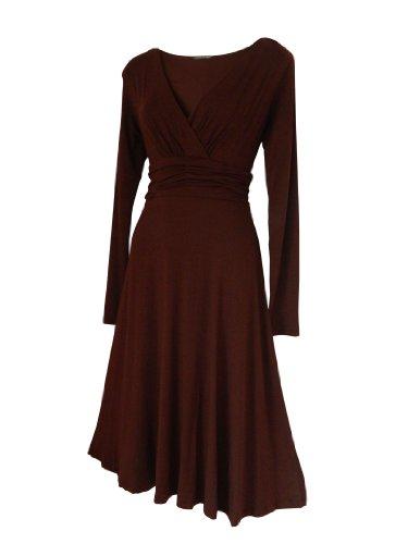 Robe Femme Sexy STYLE VINTAGE ,élégante/Robe de cocktail ,robe à manches longues, Disponible en différents coloris,Taille 36 - 52 (50, Marron)