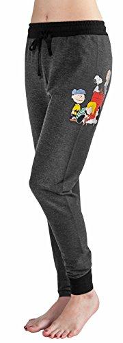 (Peanuts Snoopy Charlie Brown Woodstock Women's Juniors Jogger Pant Legging Yoga Pants Grey (X-Small,)