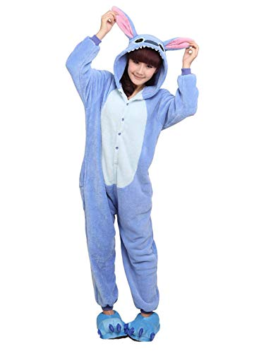 ReachMe Adult Animal Onesies Pajamas Stitch Skeleton Dinosaur Costumes Loungwear Pjs(1 Blue,S) -