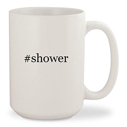 #shower - White Hashtag 15oz Ceramic Coffee Mug (Chloe Tiara)