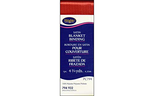 (Wrights 117-794-932 Single Fold Satin Blanket Binding, Spice,)