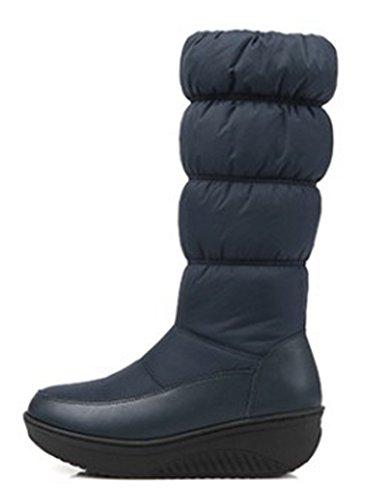 Aisun Damesschoenen Warme Comfortabele Ronde Neus Zijkant Rits Dikke Zool Plateau Lage Hakken Half Kalf Snowboots Schoenen Blauw