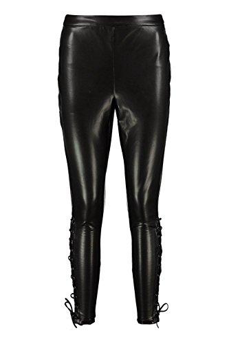 Schwarz Damen Reign Premium Lace Up Side Leather Look Trousers Schwarz