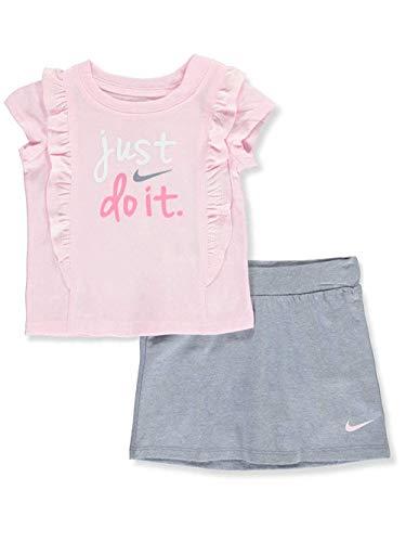 Nike Baby Girls' 2-Piece Skirt Set Outfit - Ashen Slight, 12 - Nike Girls Skirt